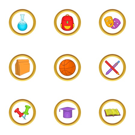 School equipment icons set, cartoon style Illustration