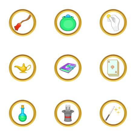 Magic items icons set, cartoon style Illustration
