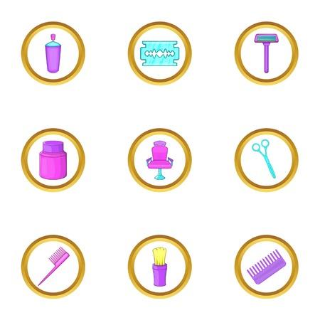 curler: Hairdresser shop icons set, cartoon style Illustration