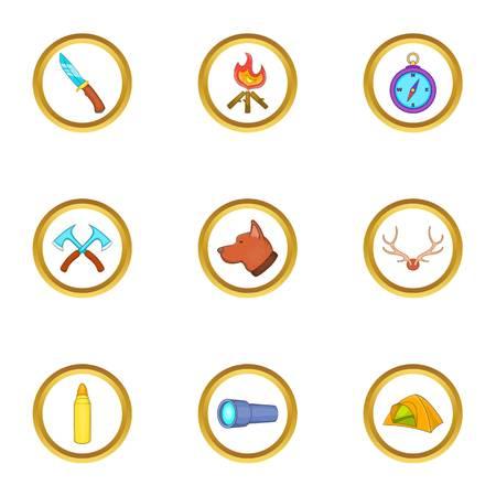 espantapajaros: Conjunto de iconos de campamento de caza, estilo de dibujos animados Vectores