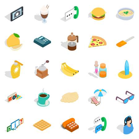 Brunch icons set. Isometric set of 25 brunch vector icons for web isolated on white background