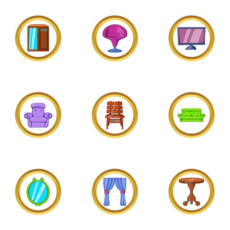 Domestic furniture icon set. Cartoon set of 9 domestic furniture vector icons for web isolated on white background Illustration