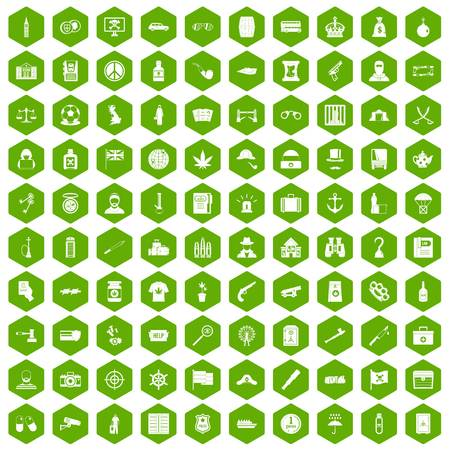 100 offence icons set in green hexagon isolated vector illustration Illustration