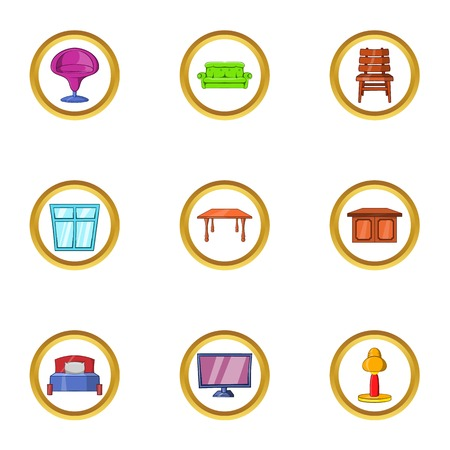 kitchen cabinets: Modern furniture icon set. Cartoon set of 9 modern furniture vector icons for web isolated on white background