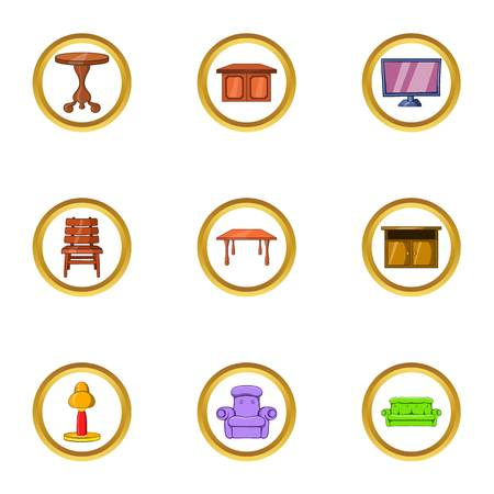 Home furniture icon set. Cartoon set of 9 home furniture vector icons for web isolated on white background