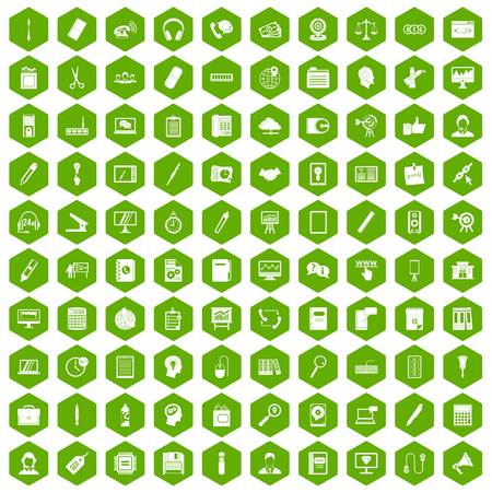 office stapler: 100 office work icons set in green hexagon isolated vector illustration