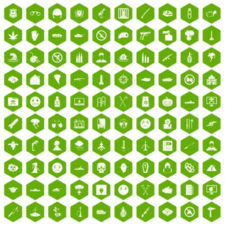 butterfly knife: 100 oppression icons set in green hexagon isolated vector illustration