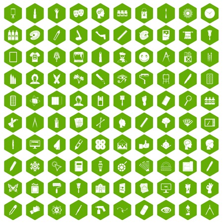 sanguine: 100 paint icons set in green hexagon isolated vector illustration