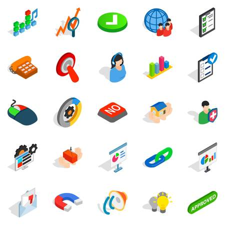 Excellent worker icons set. Isometric set of 25 excellent worker vector icons for web isolated on white background Illustration