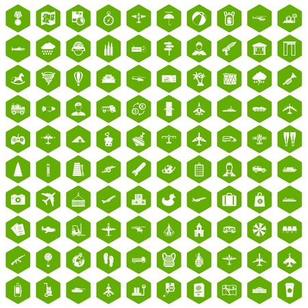 palm pilot: 100 plane icons set in green hexagon isolated vector illustration