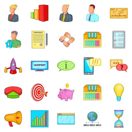 Investment icons set. Cartoon set of 25 investment vector icons for web isolated on white background