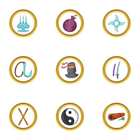 Asian ninja icon set. Cartoon set of 9 asian ninja vector icons for web isolated on white background Ilustração