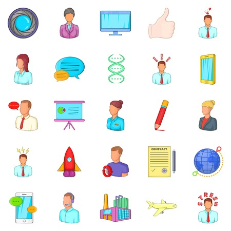Factory icons set. Cartoon set of 25 factory vector icons for web isolated on white background