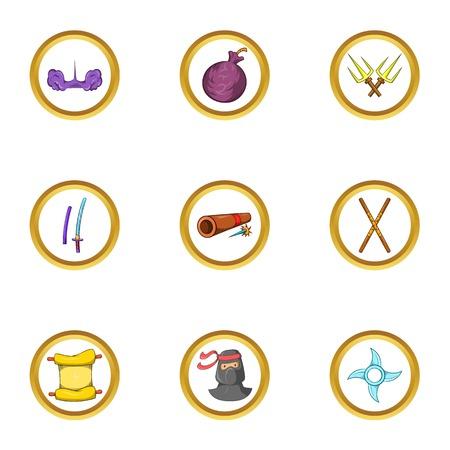 Ninja assassin icon set. Cartoon set of 9 ninja assassin vector icons for web isolated on white background