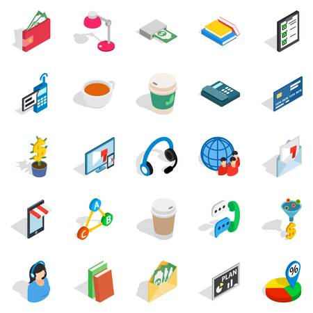 Business communication icons set. Isometric set of 25 business communication vector icons for web isolated on white background Illustration