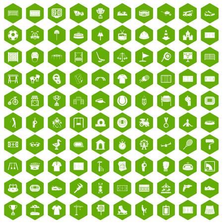 100 icônes de terrain de jeu en hexagone vert isolé illustration vectorielle Banque d'images - 83527069