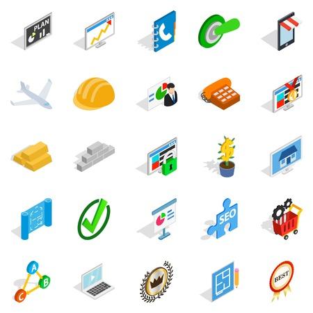 Construction business icons set. Isometric set of 25 construction business vector icons for web isolated on white background