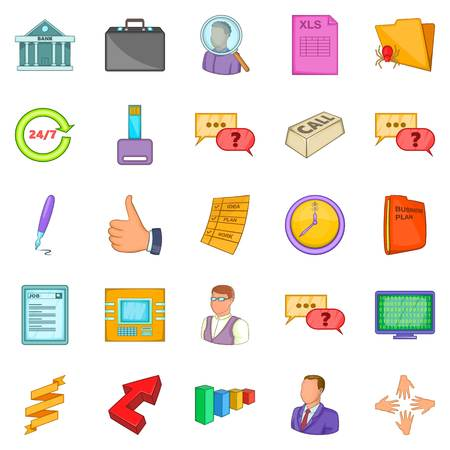 Business manager icons set. Cartoon set of 25 business manager vector icons for web isolated on white background Illustration
