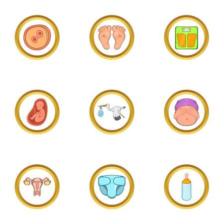 Pregnant period icon set. Cartoon set of 9 pregnant period vector icons for web isolated on white background Illustration