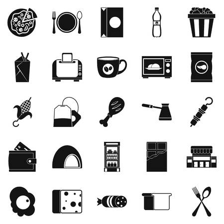 ingestion: Dining icons set. Simple set of 25 dining vector icons for web isolated on white background Illustration