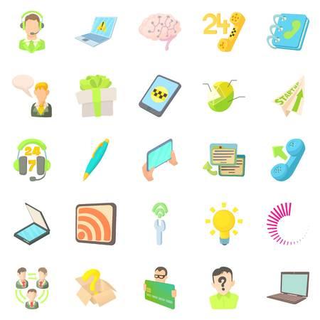 Mobile telecommunications icons set. Cartoon set of 25 mobile telecommunications vector icons for web isolated on white background