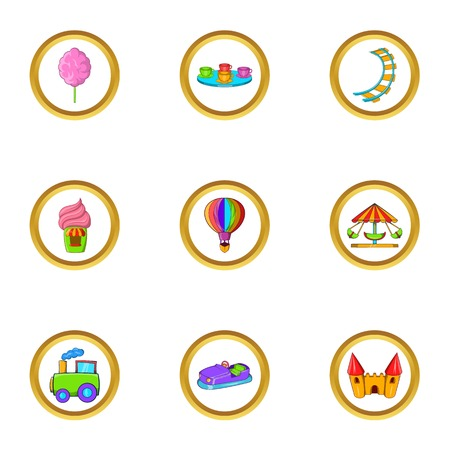 Amusement rest icon set. Cartoon set of 9 amusement rest vector icons for web isolated on white background Illustration