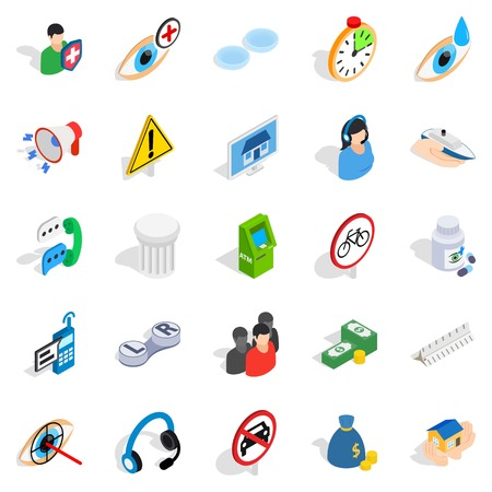 Icone di preoccupazione impostate. Un insieme isometrico di 25 icone di vettore di preoccupazione per il web isolato su fondo bianco