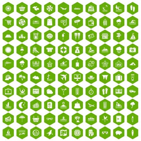 rainbow slide: 100 seaside resort icons hexagon green