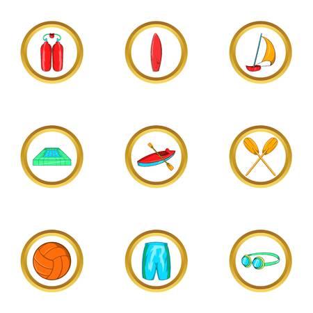 Water sport holiday icon set, cartoon style Illustration