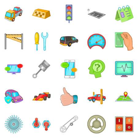 automotive industry: Car overhaul icons set, cartoon style