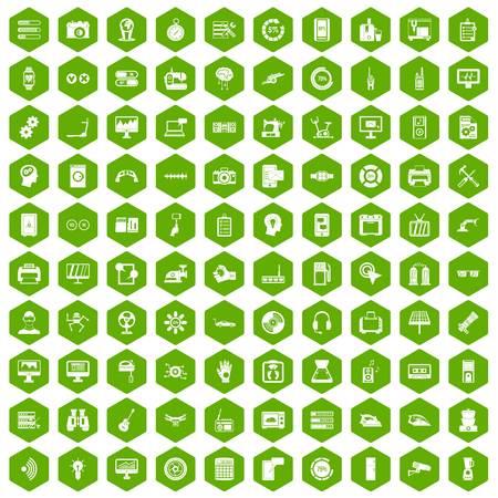 sharpness: 100 settings icons hexagon green