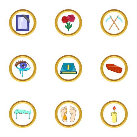 ollection: Death ceremony icon set, cartoon style