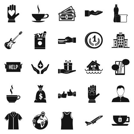 black family: Alms-deed icons set, simple style