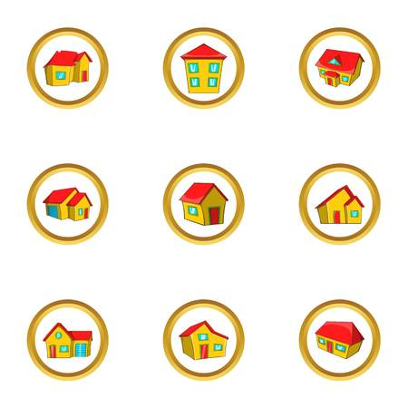 City house icon set, cartoon style