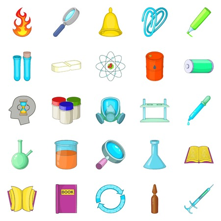Chemical experiment icons set, cartoon style