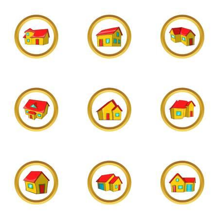 House collection icon set, cartoon style Illustration