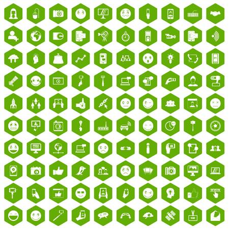 100 social media icons hexagon green
