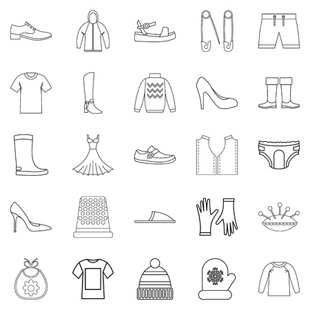 outgoing: Outgoing clothes icons set, outline style