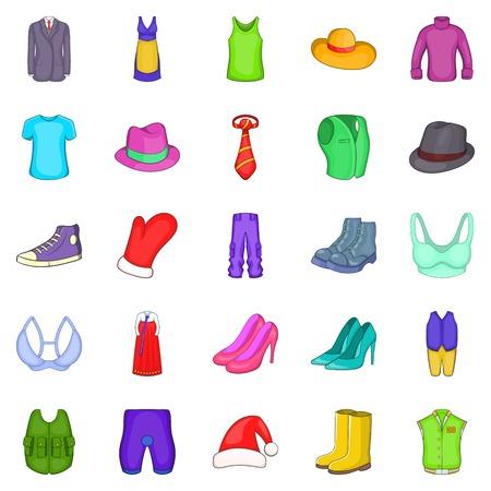 robo: Outerwear iconos conjunto, estilo de dibujos animados