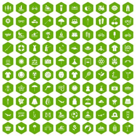 100 summer icons hexagon green