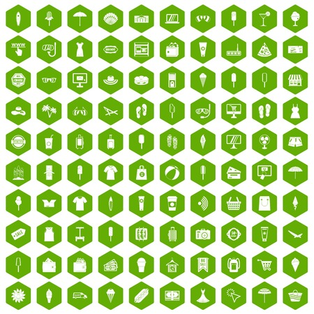 100 summer shopping icons hexagon green