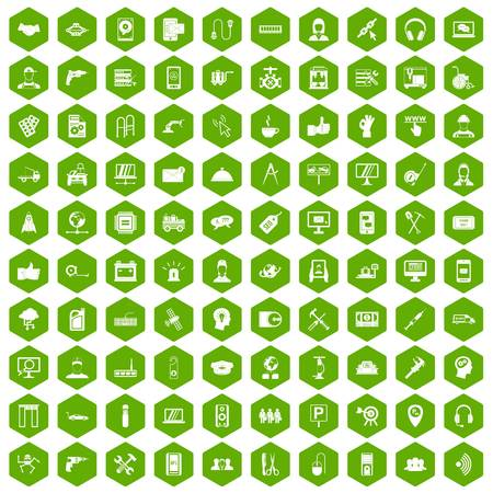 100 support icons hexagon green