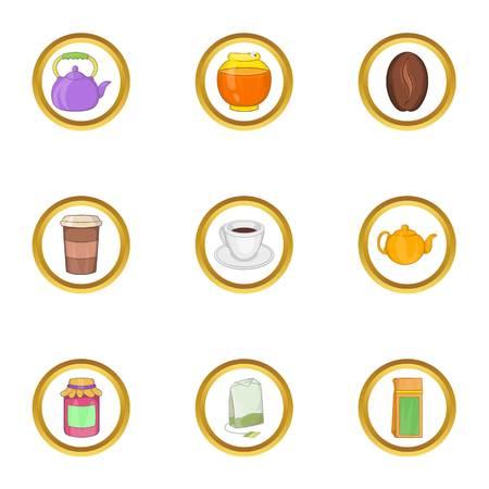 Morning drinks icon set, cartoon style