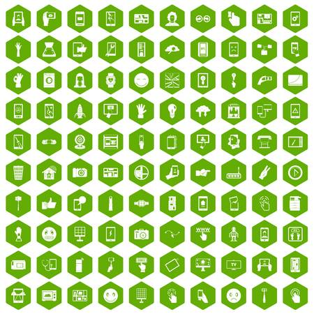 touch screen phone: 100 touch screen icons hexagon green