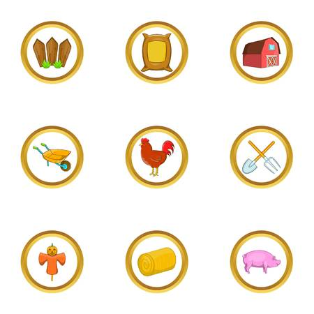 Agriculture icon set, cartoon style