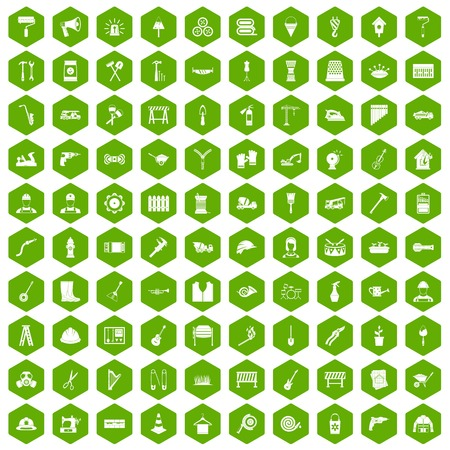 sewing machines: 100 tools icons set in green hexagon isolated vector illustration