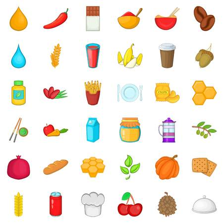 Vegetarian icons set. Cartoon style of 36 vegetarian vector icons for web isolated on white background