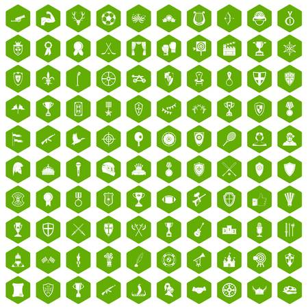 100 trophy and awards icons set in green hexagon isolated vector illustration Illustration