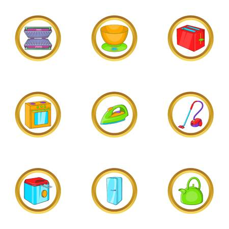 a3904df23c1 Household electronic icon set. Cartoon set of 9 household electronic vector  icons for web isolated