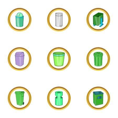 Eco garbage icon set, cartoon style